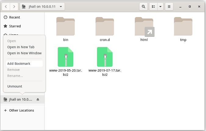 GNOME file manager - adding bookmark
