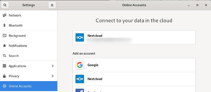 GNOME Online Accounts settings
