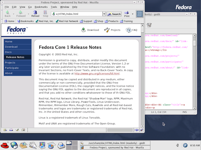 GNOME desktop example with Fedora