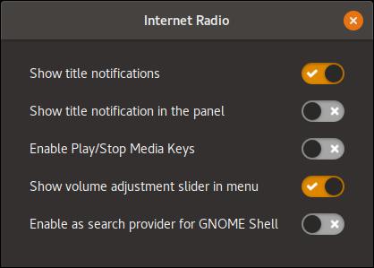 GNOME Internet Radio Settings