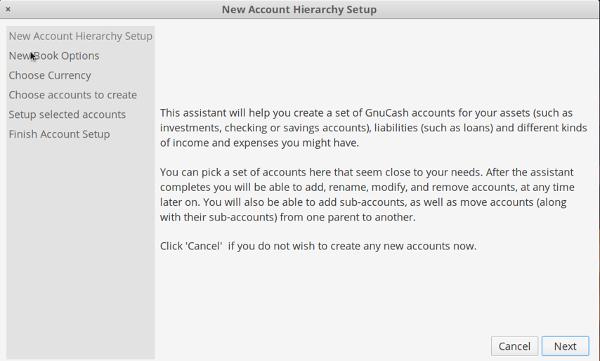 GnuCash new account setup