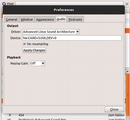 GogglesMM preferences selecting ALSA output