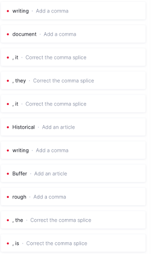 Errors identified by Grammarly
