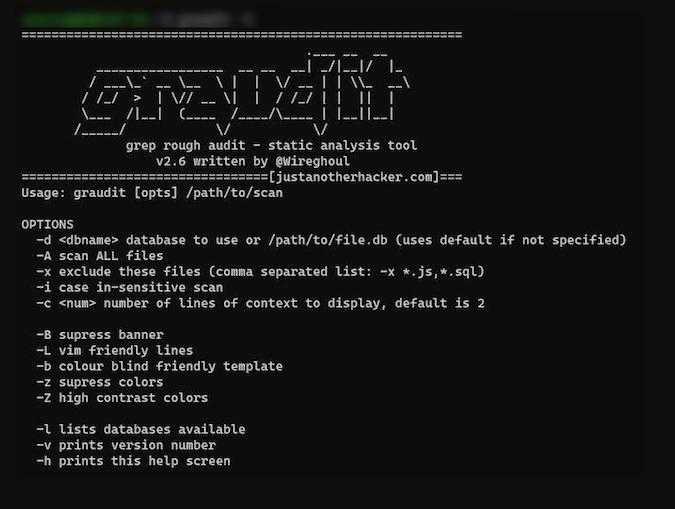 Graudit terminal screen showing help page