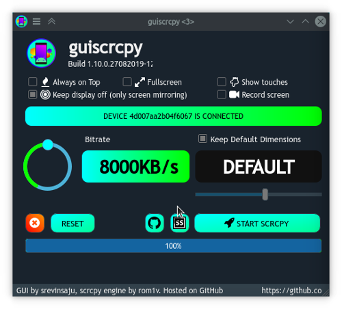 Guiscrcpy main screen