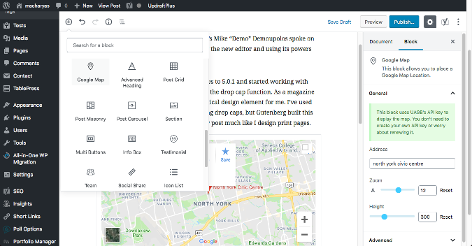 WordPress Gutenberg Google Maps add-on