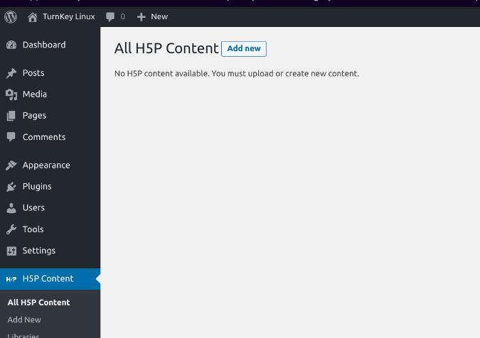 H5P Content menu