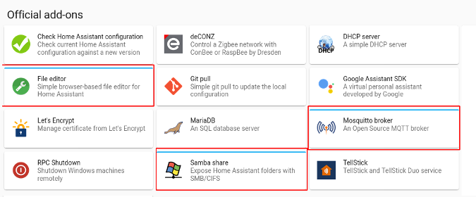Home Assistant official add-ons