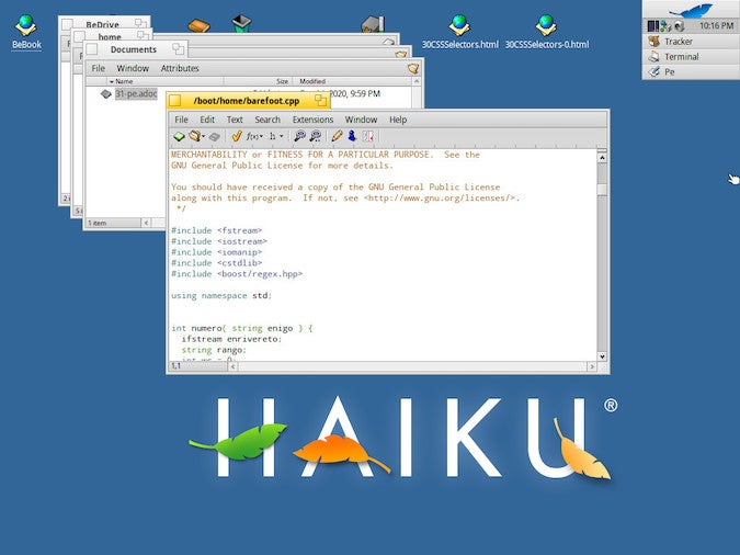 Blue HAIKU desktop with Pe editor buffer, a white box with gray text