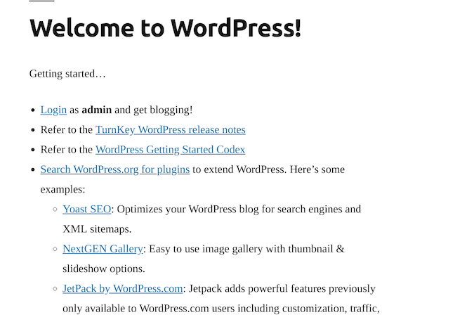 Wordpress welcome