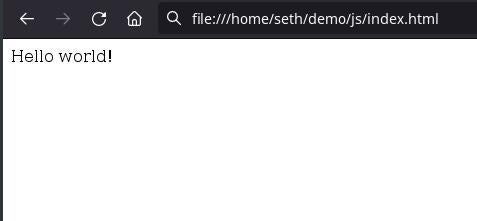 HTML with JavaScript displayed in browser