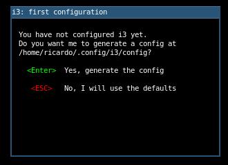 i3 initial configuration screen