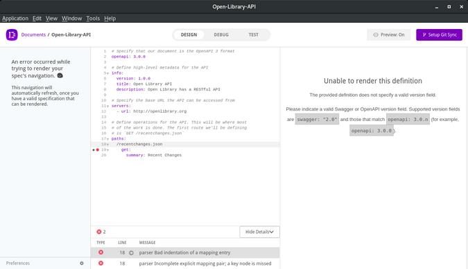 Insomnia Designer UI error message
