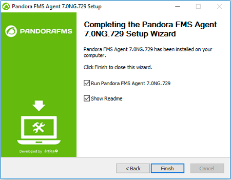 Pandora FMS Windows setup screen