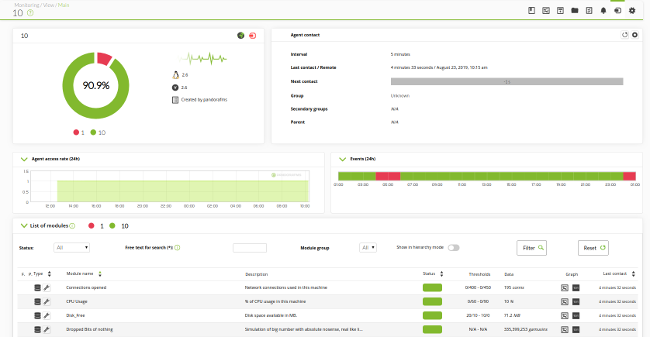 Console showing firewall monitoring