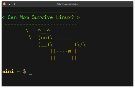 """Cowsay """"Can Mom Survive Linux?"""""""