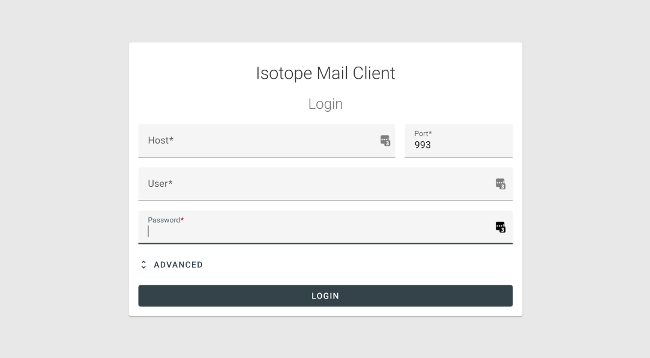 Isotope login screen