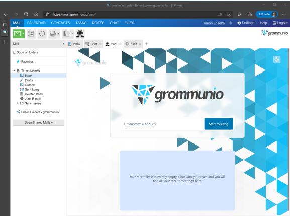 Screenshot of grommunio meeting space