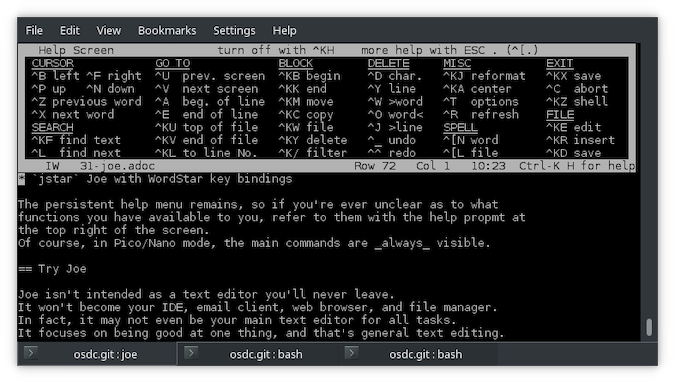 Black terminal with white text showing WordStar key bindings