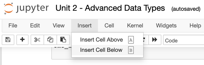 Inserting a new cell in Jupyter
