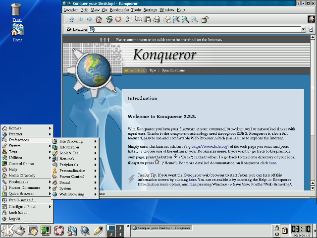 KDE 2.2.2 (2001) showing the Konqueror browser