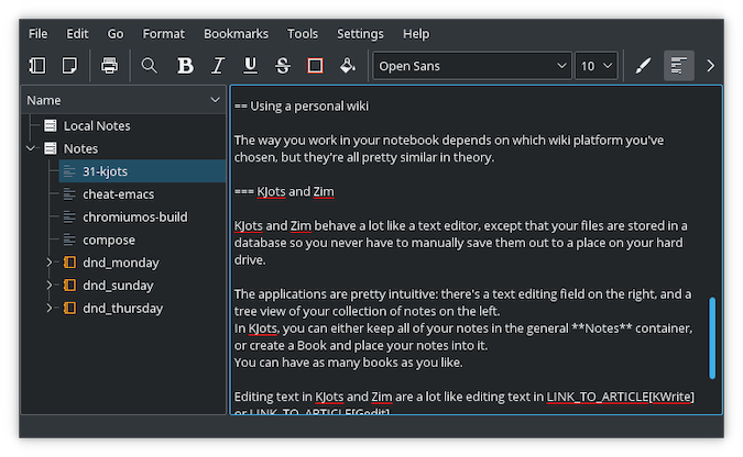 black KJots terminal with white text and separate left-side tree menu