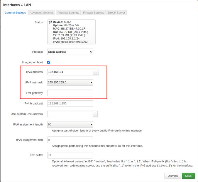 Enter IP in the LAN interface