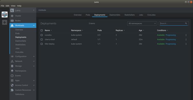 Lens Workloads Deployments menu