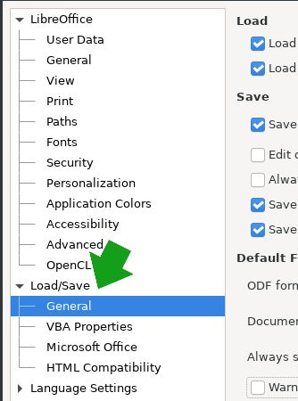 LibreOffice settings panel