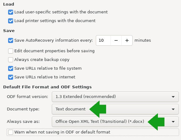 LibreOffice save formats
