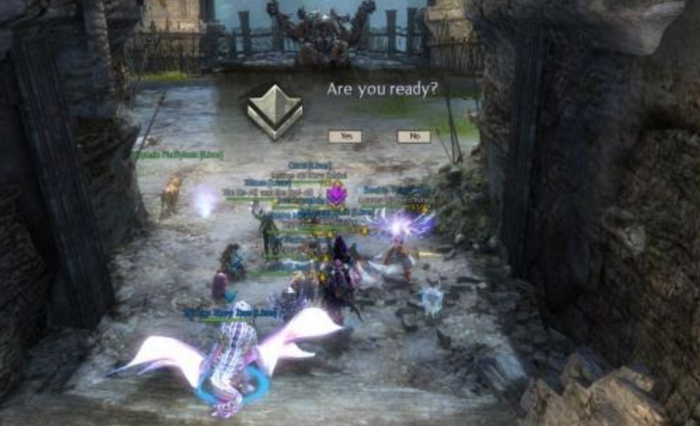 Guild Wars 2 raid team encountering Samarog.