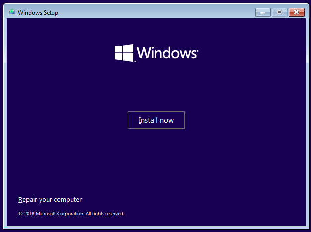 Install Windows confirmation screen