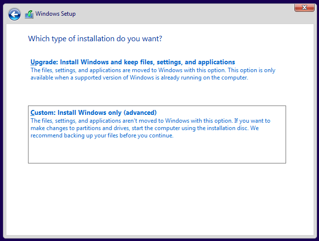 Select type of Windows installation