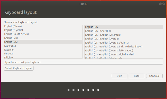 Select keyboard in Ubuntu