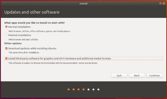 Choose Ubuntu installation options