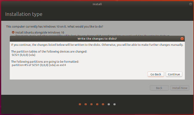 Ubuntu installation confirmation screen