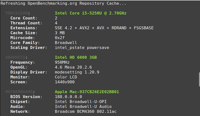 MacBook Phoronix Test Suite output