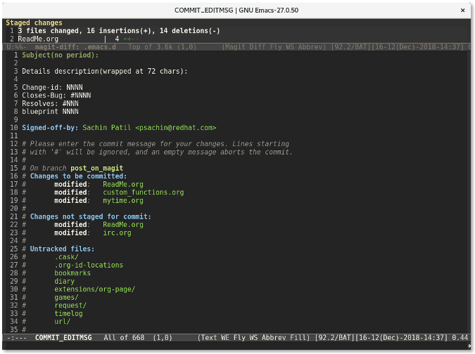 Magit commit message popup window