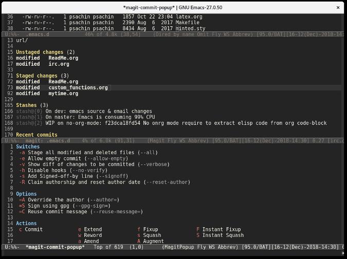 Magit commit popup window