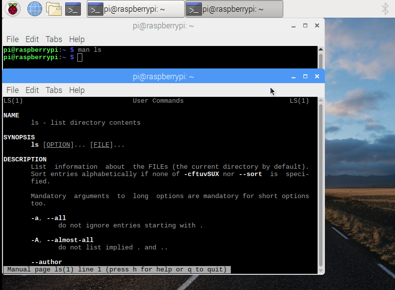 Man terminal for Raspberry Pi on Linux