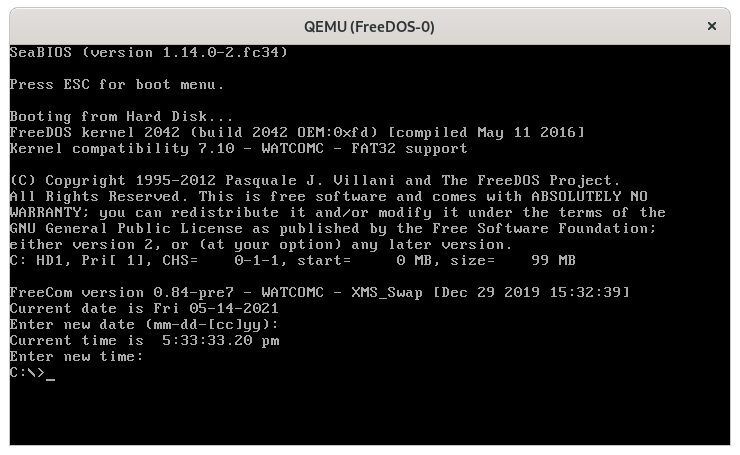 rebooting FreeDOS