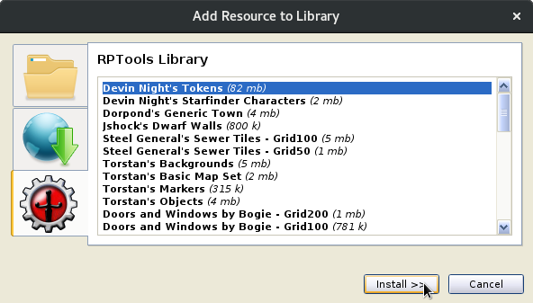 Add Resource to Library dialogue