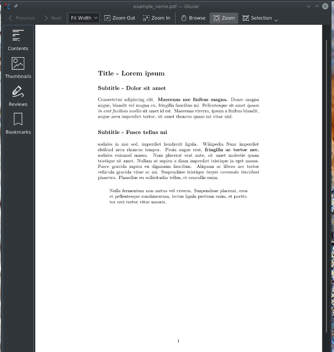 Markdown text converted to PDF with Pandoc