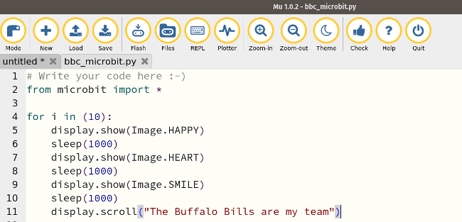 Code for Microbit to display Buffalo Bills tribute