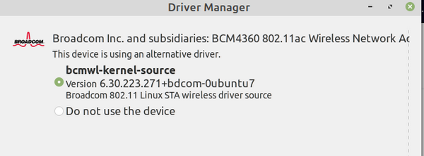 Linux Mint Driver Manager