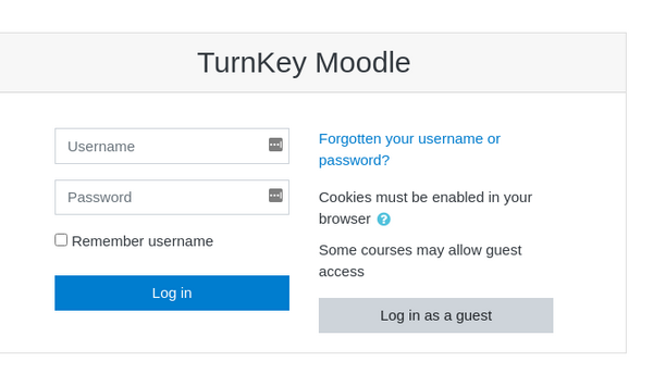 Moodle login screen