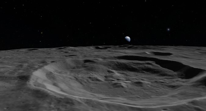 The Moon visualized by the OpenSpace project