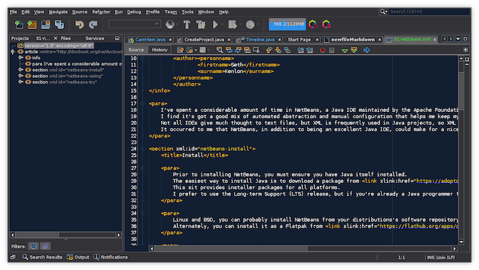 Black NetBeans terminal with white and yellow XML code