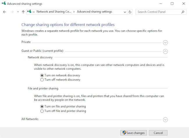 Network sharing settings