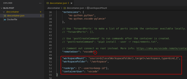 Updated devcontainer.json file